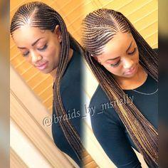 Small feeder braids, long braids, neat braids, plaits #blackhairstylesbraids #africanbraids