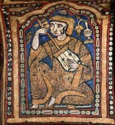 Islamic lute in Europe: a Muslim musician playing a rubab / oud / lute in the court of Norman King of Sicily Roger II on the painted wooden ceiling of the Palatine Chapel c. 1140 A.D. His court was a mixing ground for Euopean / Muslim interaction.