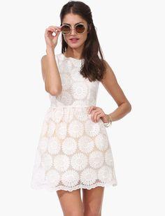 White Sleeveless Daisy Embroidered Flare Dress