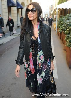 Monica Bellucci's Floral And Polka Dot Scarf