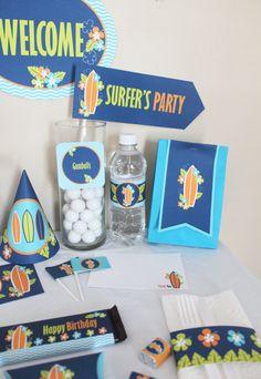 Hawaiian Luau Surfer Boy DIY Printable Birthday Party Kit
