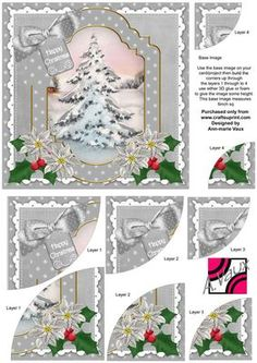 Snow Tree Christmas 6in Duo Corner Stacker Card Front on Craftsuprint - Add To Basket!