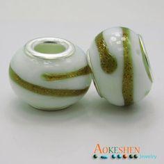 $0.7,  White Beads Lamp-work Millefiori European Style Charms Gold Polish http://www.eozy.com/white-beads-lamp-work-millefiori-european-style-charms-gold-polish