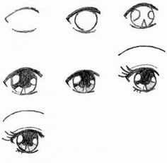 step by step on how to draw simple anime eyes