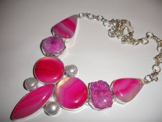 SOLD____STUNNING Beautiful Botswana Agate and Solar Quartz by SupplyWizard, $40.00 Statement Necklace