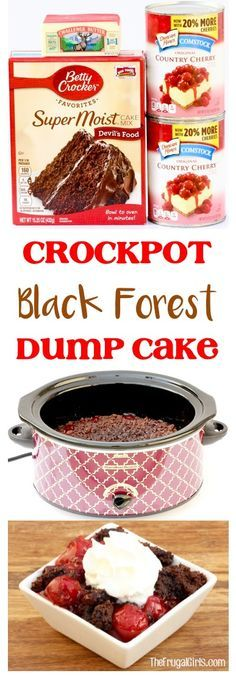 Crock Pot Chocolate Cherry Black Forest Dump Cake Recipe Just 3 ingredients and SO delicious It tastes just like decadent chocolate covered cherries Slow Cooker Desserts, Crock Pot Desserts, Crockpot Dishes, Crock Pot Slow Cooker, Crock Pot Cooking, Köstliche Desserts, Crockpot Recipes, Delicious Desserts, Ninja Recipes