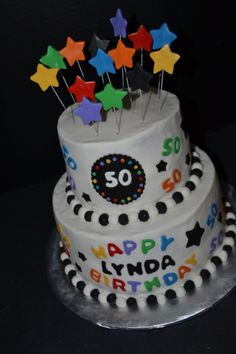 - Black, white & bright colored 50th birthday with stars