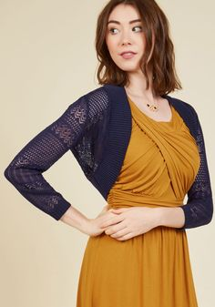 Queen Anne's Grace Cardigan in Navy - Blue, Blue, Solid, Casual, Boho, Short Sleeves, Fall, Good, Knit, Short, Sheer