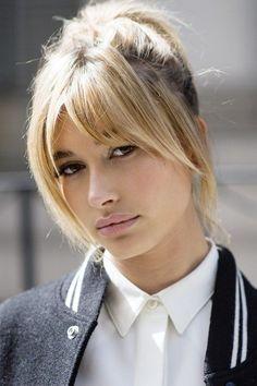 Hailey Baldwin - blond hair - long bangs