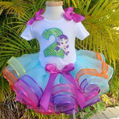 Girls Birthday Bubble Guppies Aqua Rainbow Elegance Tutu Set