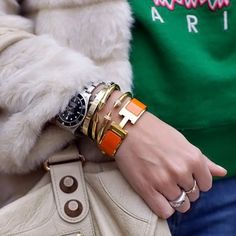 hermes h bracelet, vita fede, watch, arm candy, arm swag, arm party, stacks, bracelets, balenciaga