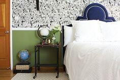 I love the wall treatment and the juxtaposition of a green lower wall and a navy headboard. From HGTV's Secrets of a Stylist.