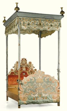 A GERMAN BAROQUE STUMPWORK SILK DECORATED TESTER STATE BED MADE FOR FRIEDRICH CHRISTIAN FREIHERR VON SPEE (1626 - 1695) LATE 17TH CENTURY the tester with moulded silk covered cresting topped by carved giltwood finials and hung with a silk frieze decorated with strapwork of green, cream and red tones; the scrolled pedimented headboard centred by double shell and decorated with red silk velvet and applique of green and cream colours, all standing in turned silk covered posts