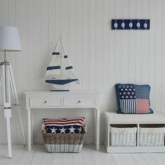 New England style hall with stars and stripes. Decorating ideas for your hall from The White Lighthouse. Ideas for decorating a white beach hall in a coastal style white home. Hallway furniture for homes in coastal, Scandi, New England and French styles Cottage Style Decor, Beach Cottage Style, Coastal Cottage, Beach House Decor, Coastal Style, Coastal Decor, Home Decor, New England Decor, New England Furniture