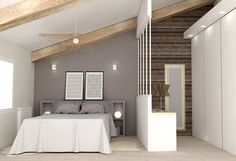 Zimmer im Dachgeschoss mit Ankleidezimmer www. - Trend NB Chambre mansardée avec dressing www. Loft Room, Bedroom Loft, Home Bedroom, Bedroom Ideas, Attic Loft, Bedroom Designs, Bed Room, Master Bedroom, Bedroom Decor