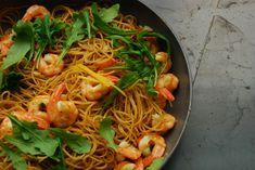 pittige pasta met scampi