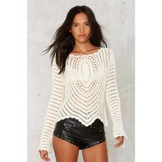 The Mission Crochet Sweater ($58) ❤ liked on Polyvore featuring tops, sweaters, ivory, white sheer top, white bell sleeve top, ivory crochet top, white tops and sheer tops
