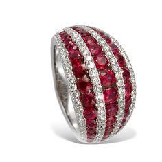 Gregg Ruth 18k White Gold, Ruby and Diamond Ring.