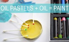 oil pastels + oil = paint - from picklbums   Ever tried this with your kids?