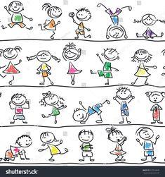 Immagine vettoriale stock 373514428 a tema Cute Doodle Happy Cartoon Kids Seamless (royalty free) Happy Cartoon, Cartoon Faces, Cartoon Kids, Les Doodle, Doodle Art, Doodle Kids, Doodle Drawings, Easy Drawings, Doodles Bonitos