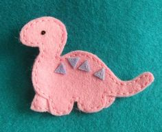 Pink Felt Dinosaur Brooch OR make a green one with a palm tree attached with ribbon to make a bookmark