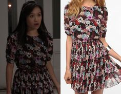 """Mouse wears this pretty floral dress to Sebastian's mother's wedding in """"Too Close for Comfort"""""""