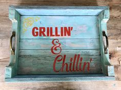 Grillin And Chillin, Wood Creations, Solid Wood, Etsy Shop, Unique Jewelry, Handmade Gifts, Summer, Vintage, House