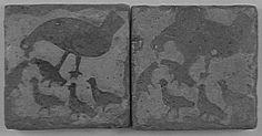 Carreaux de pavement : Poule et poussins PÉRIODE 13e siècle SITE DE PRODUCTION France (origine)