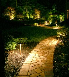 creative landscape lighting ideas to give your exterior a new look - homedecorpin Outdoor Path Lighting, Backyard Lighting, Exterior Lighting, Lighting Ideas, Deck Lighting, Accent Lighting, Solar Path Lights, Walkway Lights, Landscape Lighting Design
