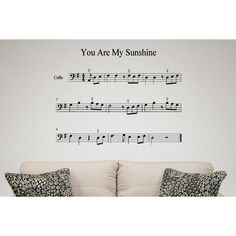 Sheet music for songs You Are My Sunshine Wall Art Sticker Decal (22 inches x 24 inches), Black