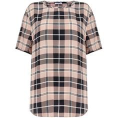 Equipment Riley Blush Pink and Black Silk T-Shirt (101.570 CLP) ❤ liked on Polyvore featuring tops, t-shirts, shirts, pink, pink t shirt, curved hem t shirt, pink and black shirts, plaid t shirt and short sleeve plaid shirts