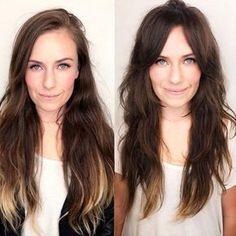 trendy Ideas hair cuts layers long bangs love her Easy Short Haircuts, Haircuts For Long Hair, Layered Haircuts, Short Hair Cuts, Pixie Cuts, Long Face Hairstyles, Fringe Hairstyles, Trendy Hairstyles, Straight Hairstyles