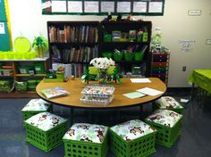 Love the crate seats at the guided reading table!