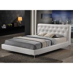 Baxton Studio Panchal White Queen Platform Bed (Queen Size Bed-White)