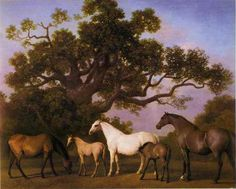 .Mares and Foals under an Oak Tree - George Stubbs, 1775