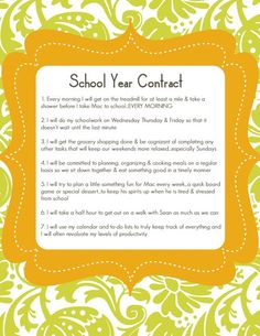 School Year Contract