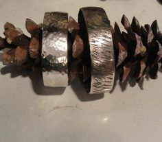 Sterling silver handcrafted etched & hammered cuffs.