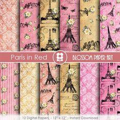 Paris Scrapbook Paper, Eiffel Tower Digital Paper Vintage Digital Paper Pack, Pink, Red, Scrapbooking - INSTANT DOWNLOAD - 1817 by blossompaperart
