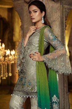Dress chiffon by maria b gray color model c 1632 latest pakistani dresses, Pakistani Party Wear Dresses, Walima Dress, Pakistani Wedding Outfits, Pakistani Dress Design, Indian Dresses, Party Dresses, Formal Dresses, Maria B Party Wear, Asian Party Wear