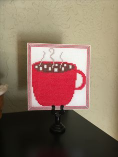 Little hot chocolate cup I cross stitched for my winter Hot Chocolate bar...