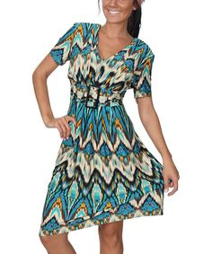 Look at this Turquoise & Orange Ikat Empire-Waist Dress on #zulily today!