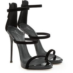 Giuseppe Zanotti Leather Stiletto Sandals (2.365 RON) ❤ liked on Polyvore featuring shoes, sandals, black, black shoes, black stiletto sandals, high heel stilettos, black leather shoes and stiletto sandals #giuseppezanottiheelsblack