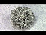 Fabric Flower, Grey Cabbage Rose, Tutorial, DIY , How to make
