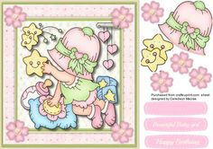 Baby Girl Reach for the Stars,  by Ceredwyn Macrae A lovely card to make and give to any baby or toddler on there special day Reach for the Stars a lovely card has two greeting tags and a blank one