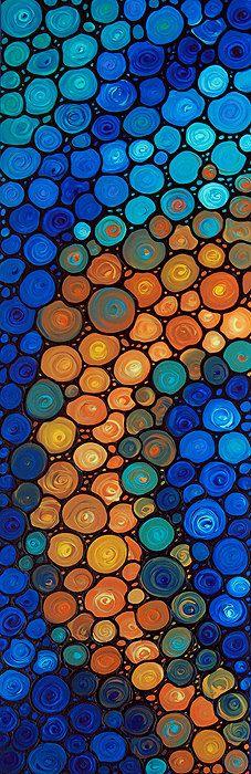 Blue and Orange Abstract Painting Mosaic by BuyArtSharonCummings