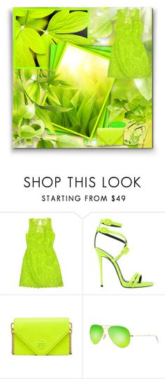 """Neon Green! - Contest!"" by asia-12 ❤ liked on Polyvore featuring Laundry, Giuseppe Zanotti, Tory Burch, Ray-Ban and Alexis Bittar"
