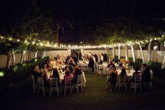 night lights at an outdoor wedding