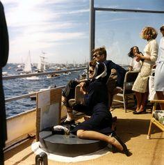 JFK and Jackie watch the 1962 America's Cup off Newport, Rhode Island (photo courtesy Robert Knudsen John F. Kennedy Library)