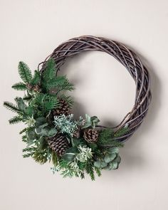 Realistic Artificial Christmas Trees, Artificial Christmas Wreaths, Christmas Door Wreaths, Noel Christmas, Rustic Christmas, Christmas Decorations, Christmas Reath, Wreaths And Garlands, Fall Wreaths