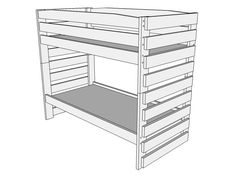 Drawing 1 - Right View of Bunk Bed B109